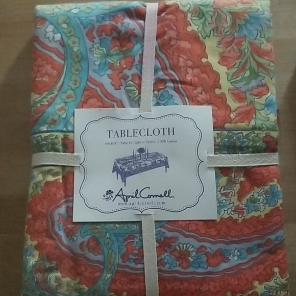 """Blue April Cornell IRIS ECRU Floral Green Red 70/"""" Round Tablecloth NWT Yellow"""